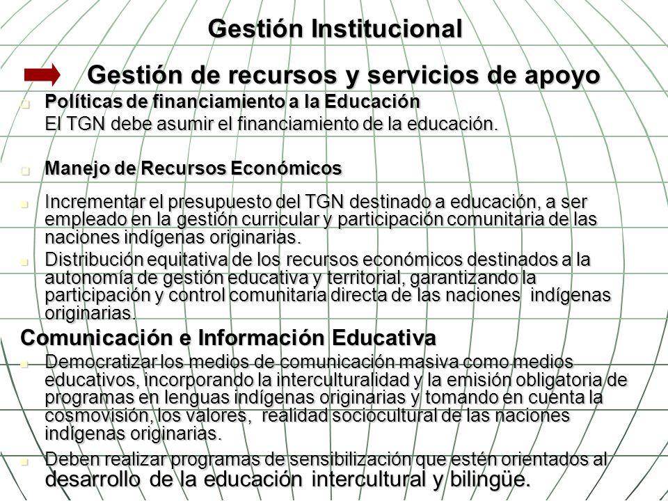 Gestión Institucional Gestión de recursos y servicios de apoyo Políticas de financiamiento a la Educación Políticas de financiamiento a la Educación E