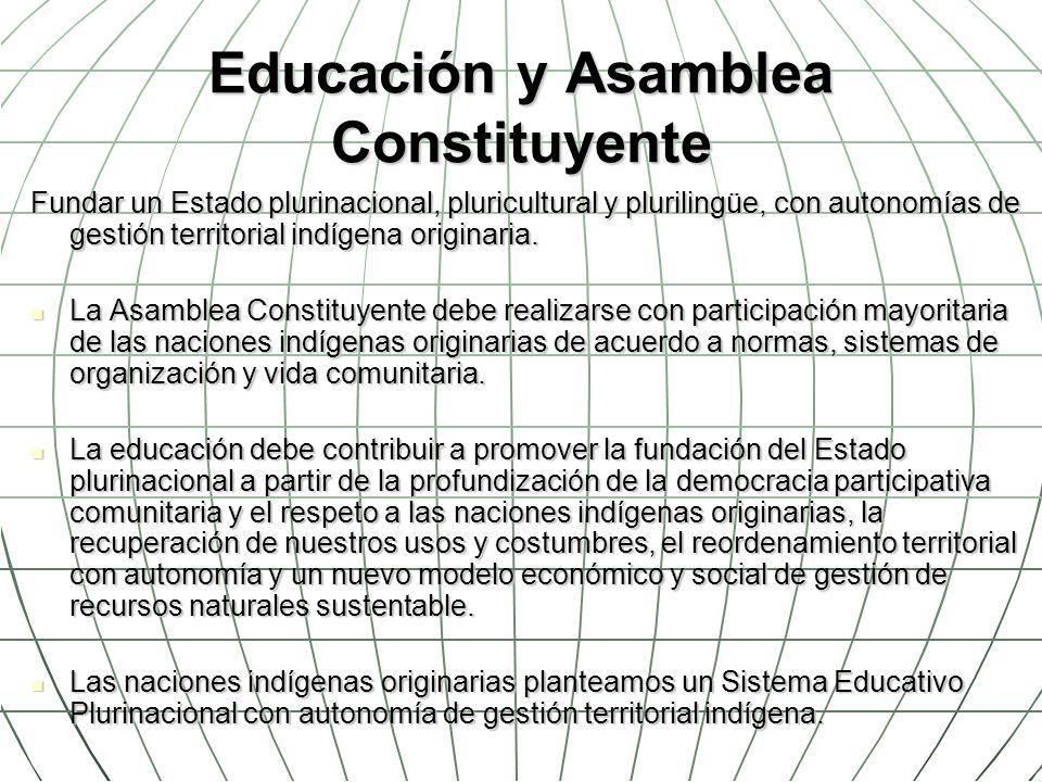 Educación y Asamblea Constituyente Fundar un Estado plurinacional, pluricultural y plurilingüe, con autonomías de gestión territorial indígena origina