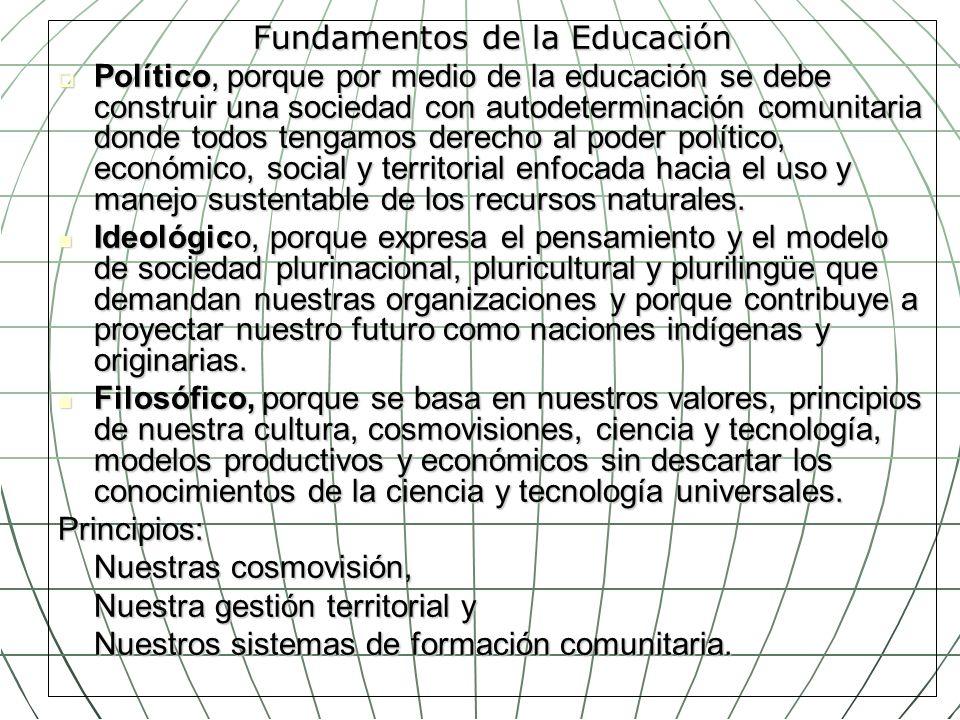 Fundamentos de la Educación Político, porque por medio de la educación se debe construir una sociedad con autodeterminación comunitaria donde todos te