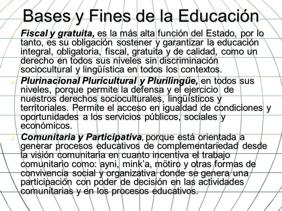 Bases y Fines de la Educación Fiscal y gratuita, es la más alta función del Estado, por lo tanto, es su obligación sostener y garantizar la educación