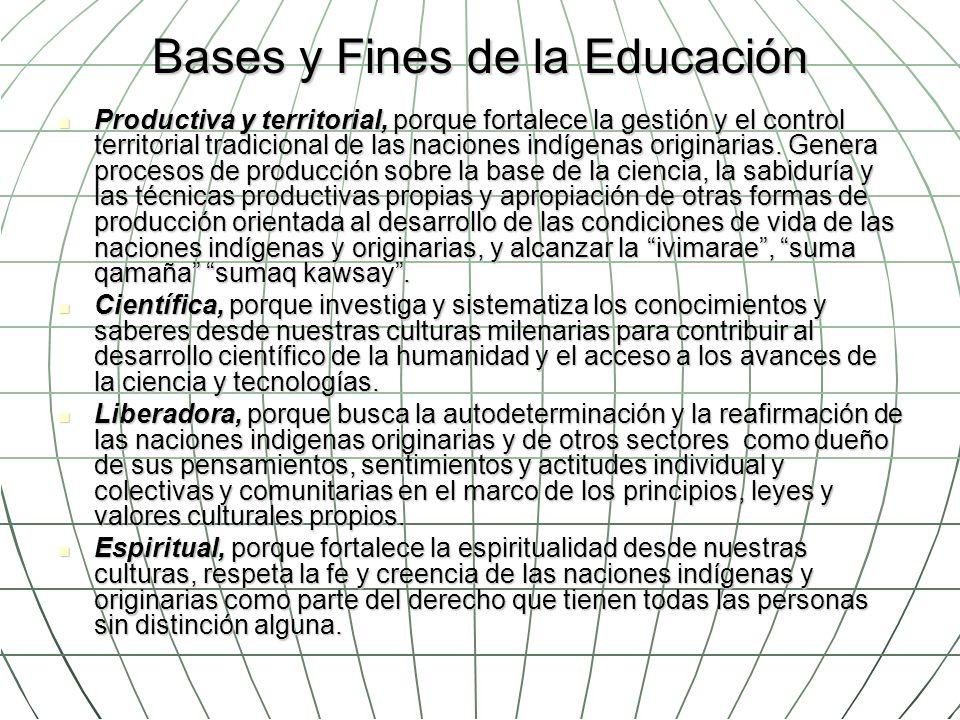 Bases y Fines de la Educación Productiva y territorial, porque fortalece la gestión y el control territorial tradicional de las naciones indígenas ori