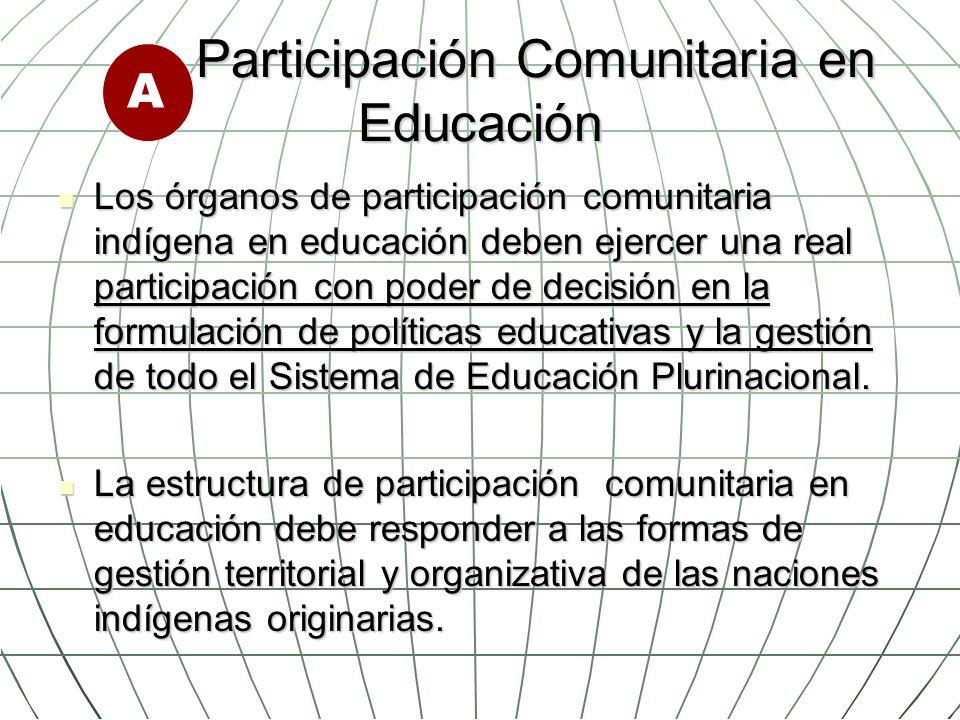 Participación Comunitaria en Educación Participación Comunitaria en Educación Los órganos de participación comunitaria indígena en educación deben eje