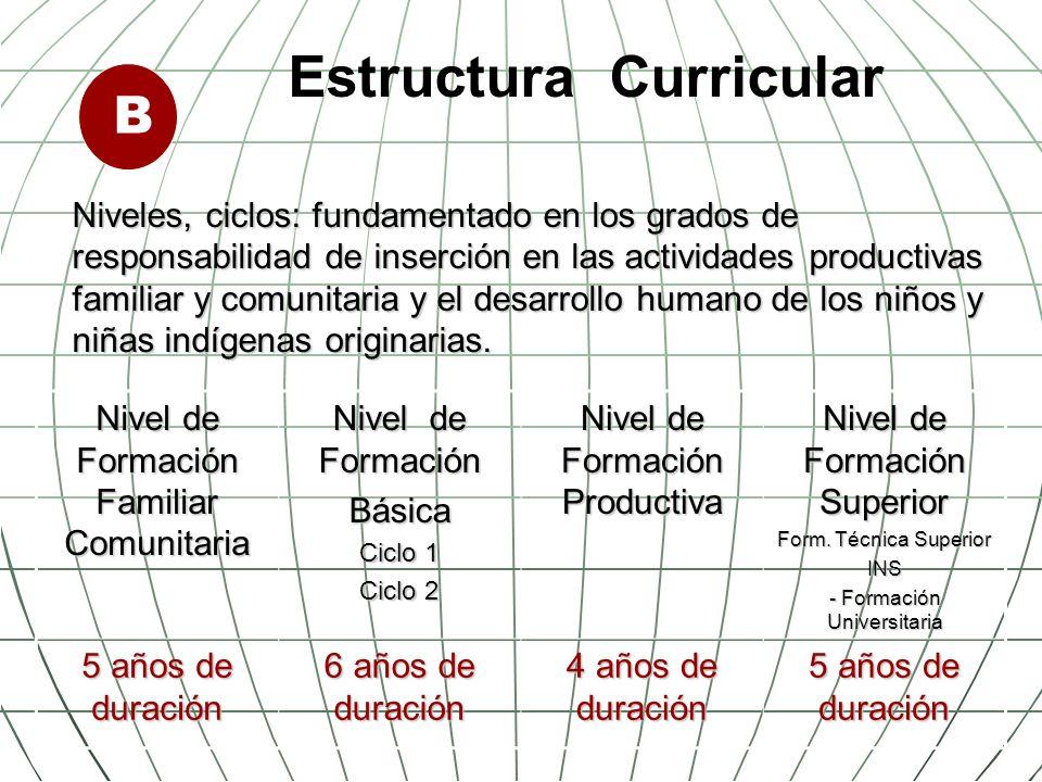 Organización curricular Currículo de la Educación, la elaboración del currículo debe partir de la cosmovisión, realidad territorial, cultural y lingüística de las naciones indígenas originarias.