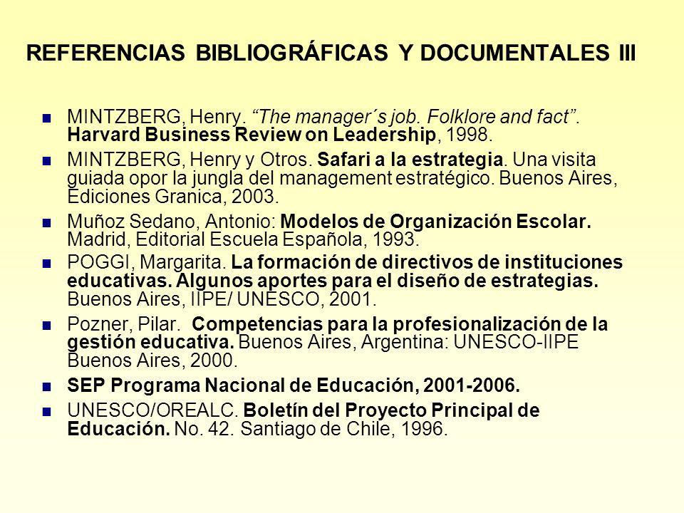 REFERENCIAS BIBLIOGRÁFICAS Y DOCUMENTALES III MINTZBERG, Henry. The manager´s job. Folklore and fact. Harvard Business Review on Leadership, 1998. MIN