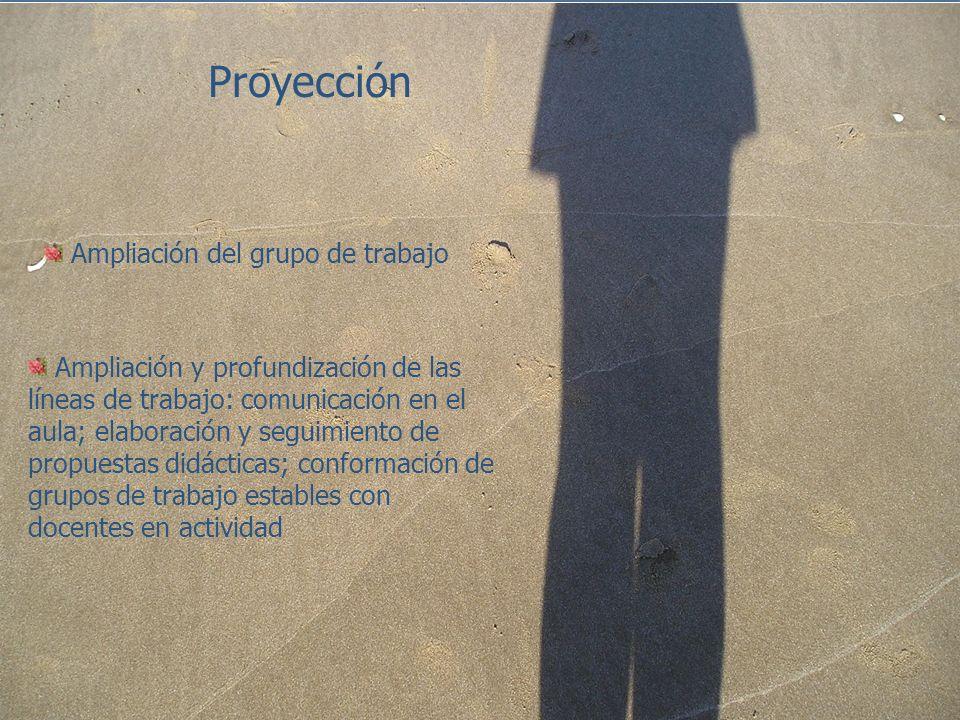 Proyección Ampliación del grupo de trabajo Ampliación y profundización de las líneas de trabajo: comunicación en el aula; elaboración y seguimiento de