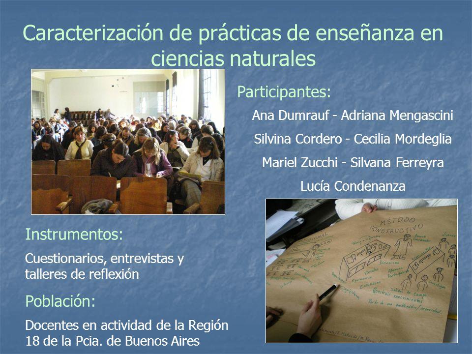 Caracterización de prácticas de enseñanza en ciencias naturales Ana Dumrauf - Adriana Mengascini Silvina Cordero - Cecilia Mordeglia Mariel Zucchi - S