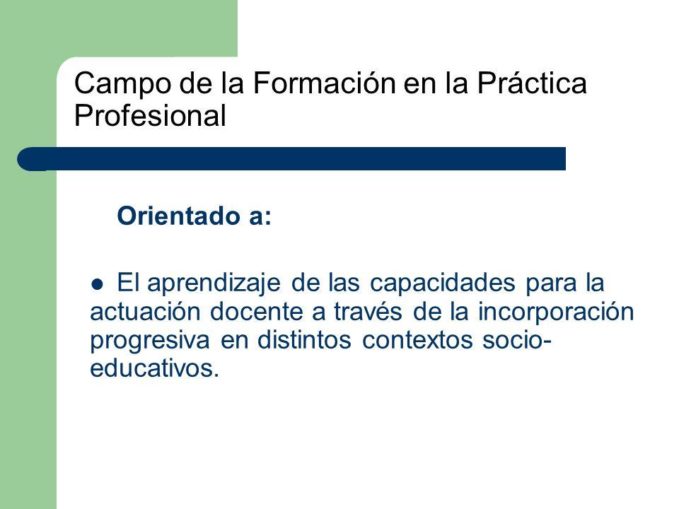 Campo de la Formación en la Práctica Profesional Orientado a: El aprendizaje de las capacidades para la actuación docente a través de la incorporación progresiva en distintos contextos socio- educativos.
