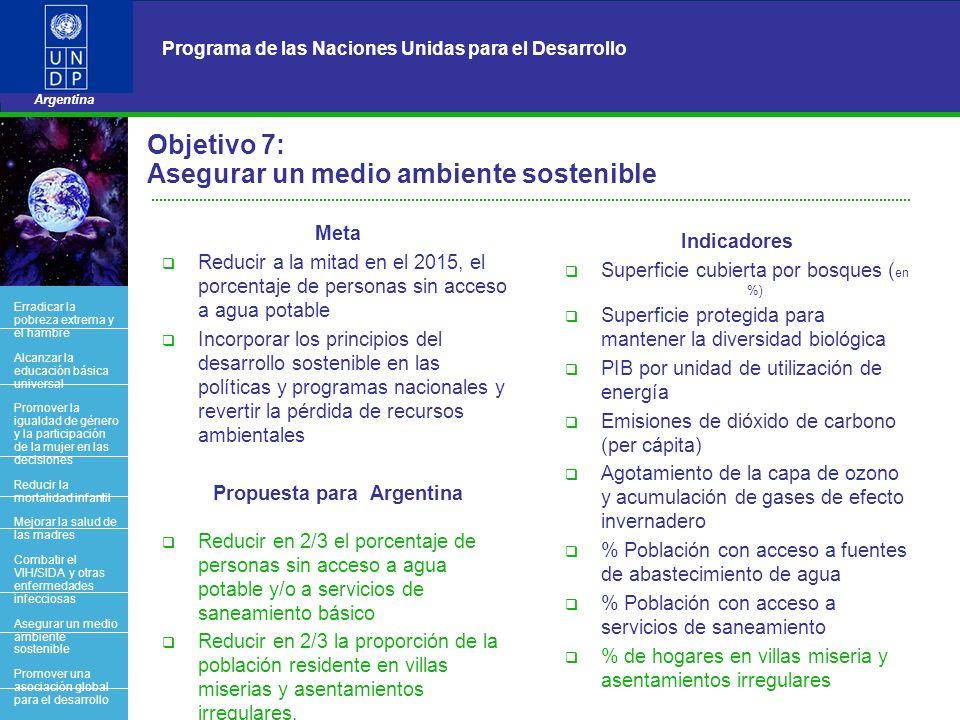11 Programa de las Naciones Unidas para el Desarrollo Argentina BACK OFFICE Objetivo 7: Asegurar un medio ambiente sostenible Meta Reducir a la mitad