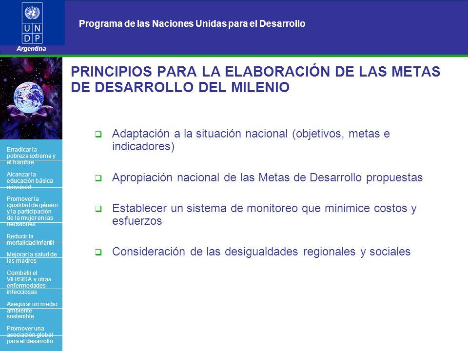 14 Programa de las Naciones Unidas para el Desarrollo Argentina BACK OFFICE PRINCIPIOS PARA LA ELABORACIÓN DE LAS METAS DE DESARROLLO DEL MILENIO Adap