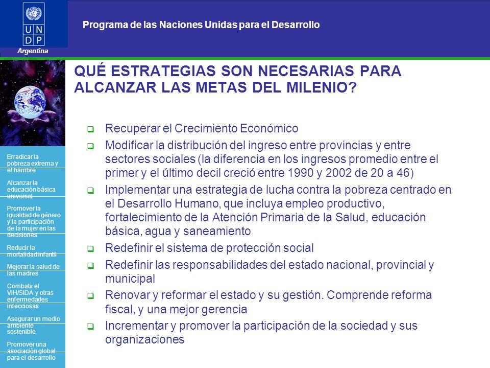 18 Programa de las Naciones Unidas para el Desarrollo Argentina BACK OFFICE QUÉ ESTRATEGIAS SON NECESARIAS PARA ALCANZAR LAS METAS DEL MILENIO? Recupe