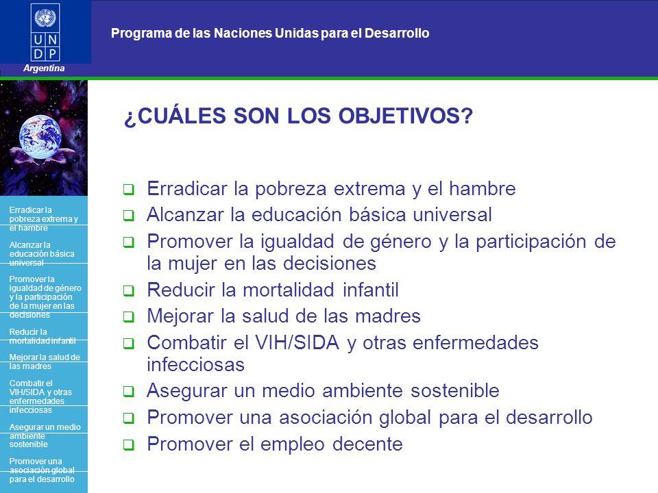4 Programa de las Naciones Unidas para el Desarrollo Argentina BACK OFFICE ¿CUÁLES SON LOS OBJETIVOS? Erradicar la pobreza extrema y el hambre Alcanza