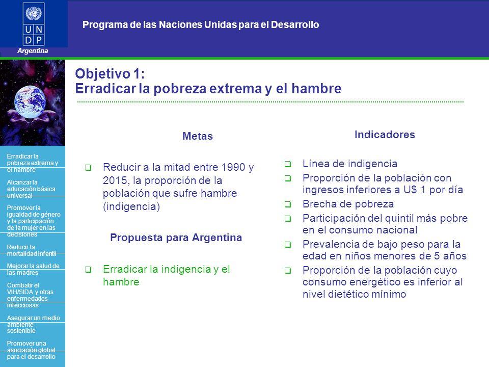 5 Programa de las Naciones Unidas para el Desarrollo Argentina BACK OFFICE Objetivo 1: Erradicar la pobreza extrema y el hambre Metas Reducir a la mit