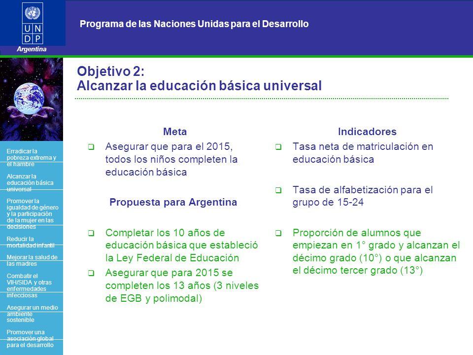 6 Programa de las Naciones Unidas para el Desarrollo Argentina Objetivo 2: Alcanzar la educación básica universal Meta Asegurar que para el 2015, todo