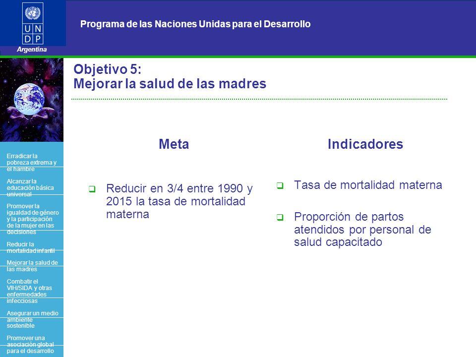9 Programa de las Naciones Unidas para el Desarrollo Argentina BACK OFFICE Objetivo 5: Mejorar la salud de las madres Meta Reducir en 3/4 entre 1990 y