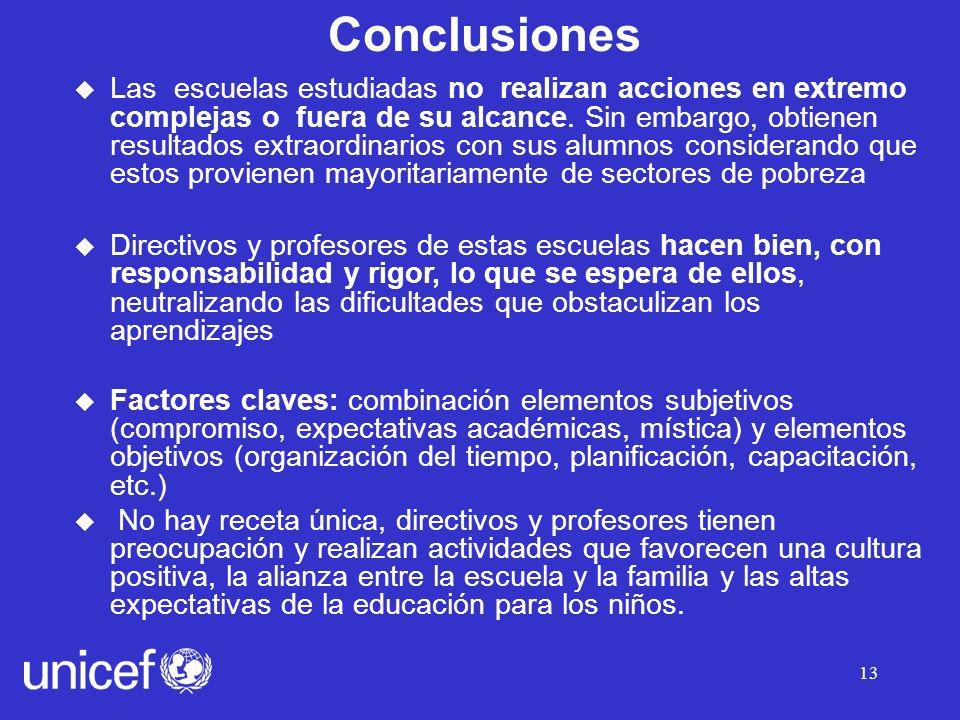 13 Conclusiones u Las escuelas estudiadas no realizan acciones en extremo complejas o fuera de su alcance.
