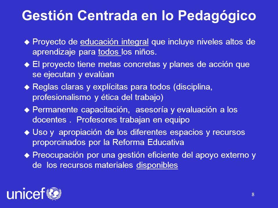 8 u Proyecto de educación integral que incluye niveles altos de aprendizaje para todos los niños.