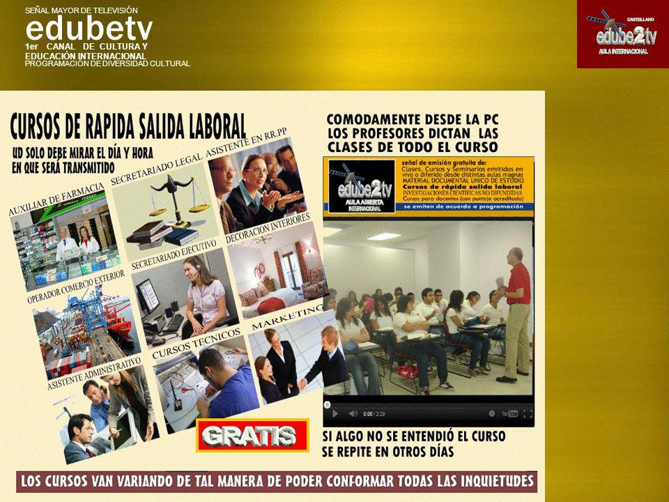 1er CANAL DE CULTURA Y EDUCACIÓN INTERNACIONAL edubetv PROGRAMACIÓN DE DIVERSIDAD CULTURAL SEÑAL MAYOR DE TELEVISIÓN