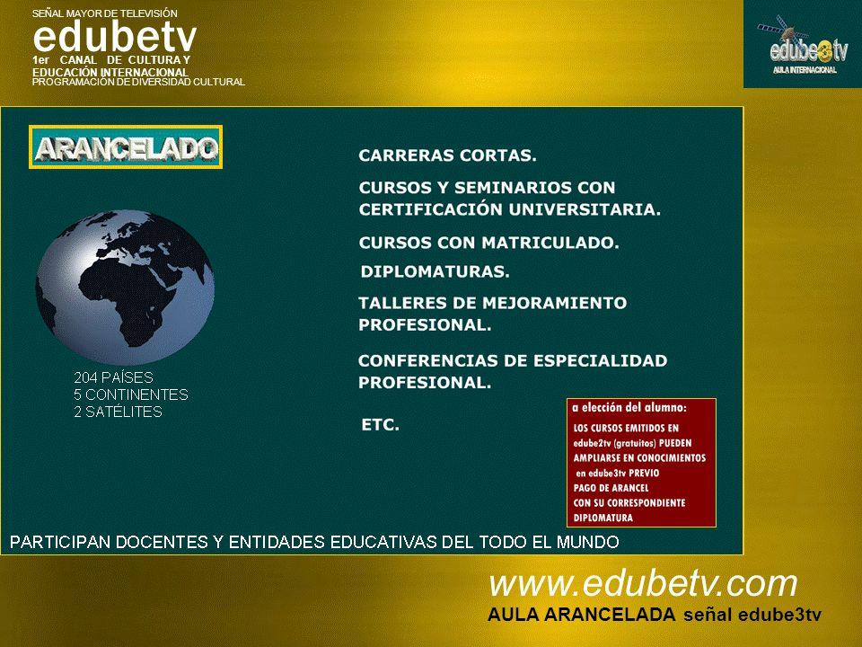 1er CANAL DE CULTURA Y EDUCACIÓN INTERNACIONAL edubetv PROGRAMACIÓN DE DIVERSIDAD CULTURAL SEÑAL MAYOR DE TELEVISIÓN www.edubetv.com AULA ARANCELADA s