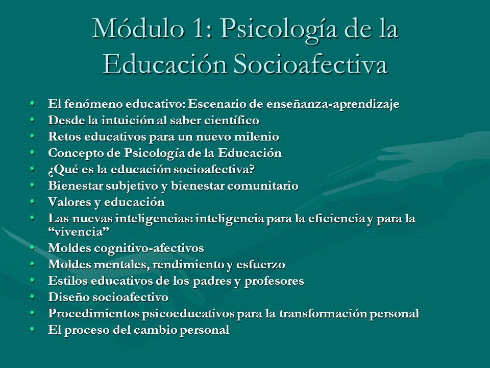 Módulo 1: Psicología de la Educación Socioafectiva El fenómeno educativo: Escenario de enseñanza-aprendizajeEl fenómeno educativo: Escenario de enseña