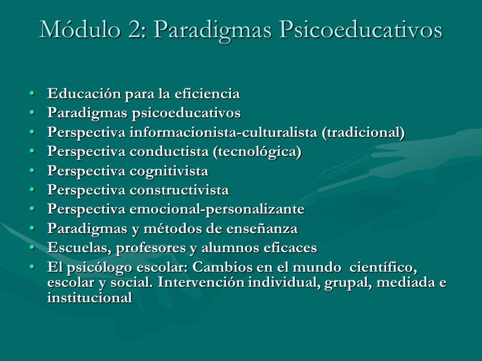 Módulo 2: Paradigmas Psicoeducativos Educación para la eficienciaEducación para la eficiencia Paradigmas psicoeducativosParadigmas psicoeducativos Per