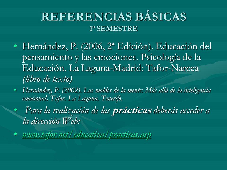REFERENCIAS BÁSICAS 1º SEMESTRE Hernández, P. (2006, 2ª Edición). Educación del pensamiento y las emociones. Psicología de la Educación. La Laguna-Mad