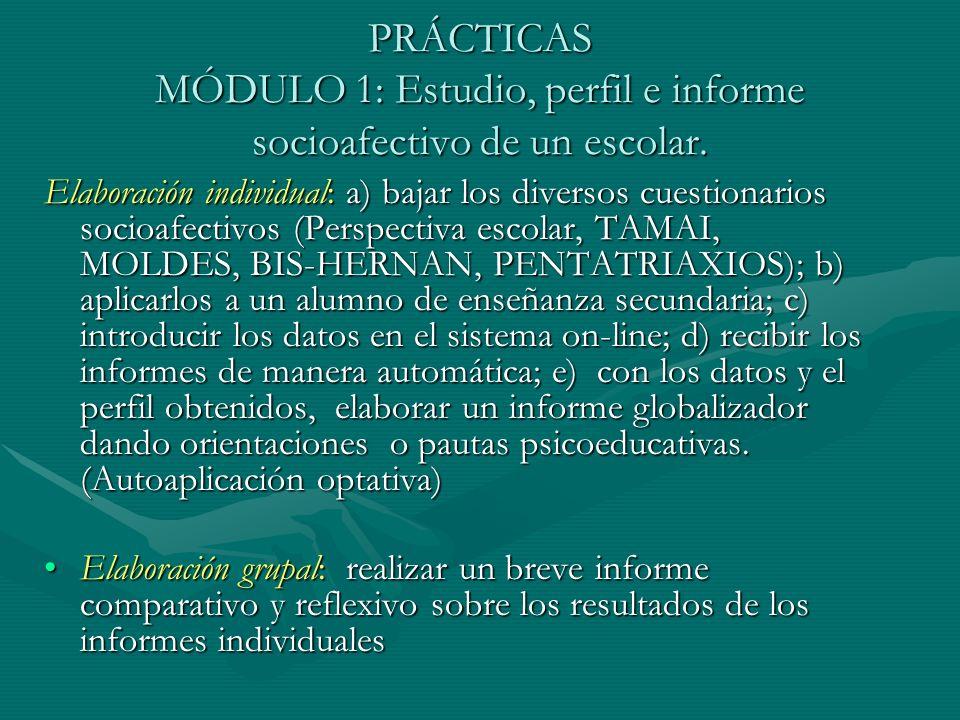 PRÁCTICAS MÓDULO 1: Estudio, perfil e informe socioafectivo de un escolar. Elaboración individual: a) bajar los diversos cuestionarios socioafectivos