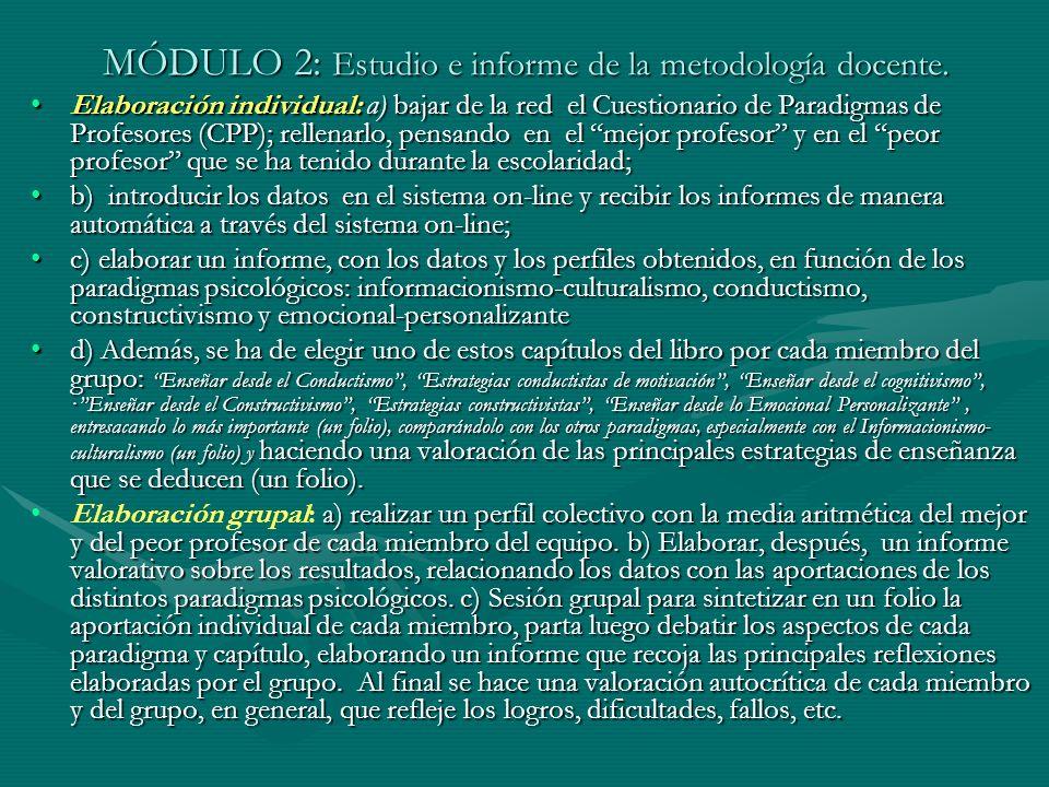 MÓDULO 2: Estudio e informe de la metodología docente. Elaboración individual: a) bajar de la red el Cuestionario de Paradigmas de Profesores (CPP); r