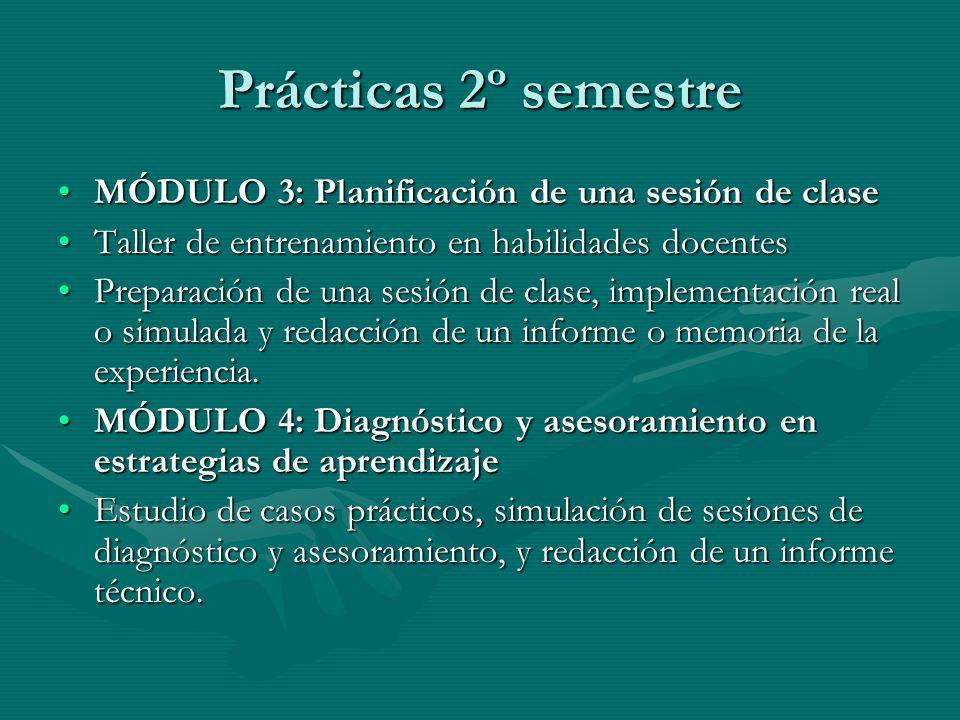 EVALUACIONES 1er semestre Examen de cada uno de los módulos: 1º módulo con entrega de informe (24 de noviembre).