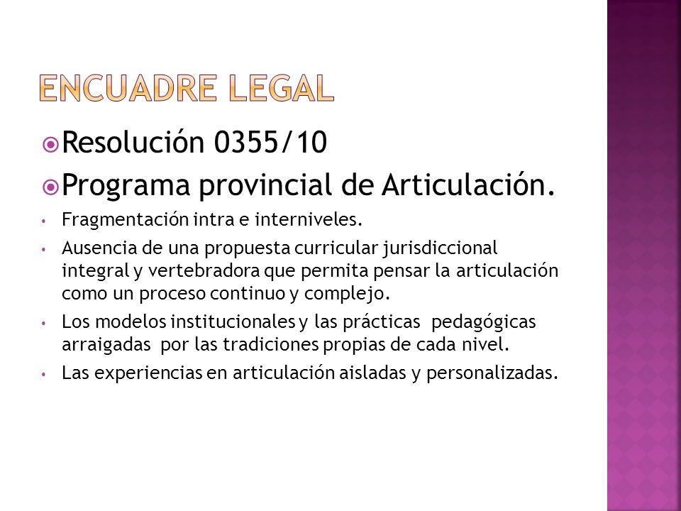 Resolución 0355/10 Programa provincial de Articulación. Fragmentación intra e interniveles. Ausencia de una propuesta curricular jurisdiccional integr