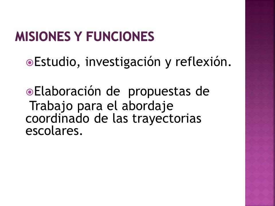Estudio, investigación y reflexión. Elaboración de propuestas de Trabajo para el abordaje coordinado de las trayectorias escolares.