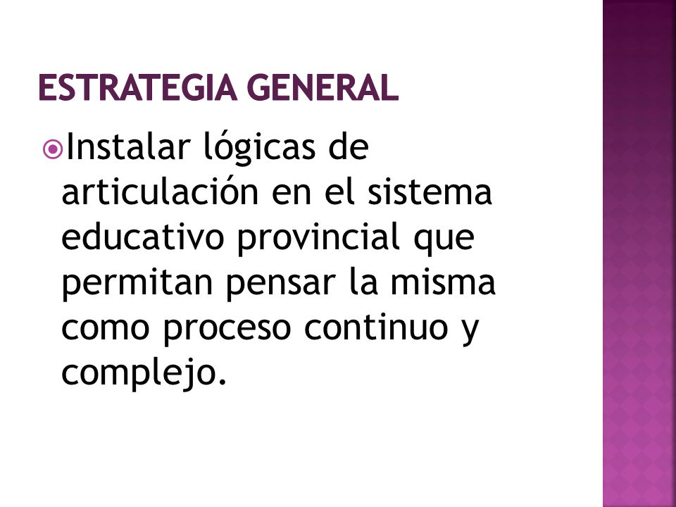 Instalar lógicas de articulación en el sistema educativo provincial que permitan pensar la misma como proceso continuo y complejo.