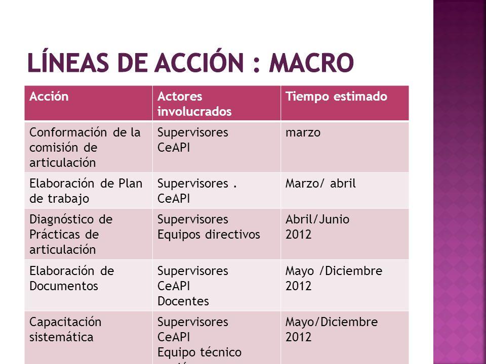 AcciónActores involucrados Tiempo estimado Conformación de la comisión de articulación Supervisores CeAPI marzo Elaboración de Plan de trabajo Supervi