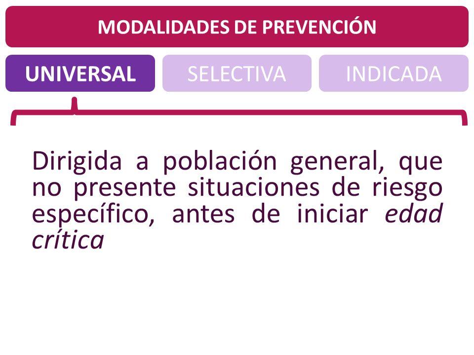 UNIVERSALINDICADASELECTIVA MODALIDADES DE PREVENCIÓN Dirigida a población general, que no presente situaciones de riesgo específico, antes de iniciar