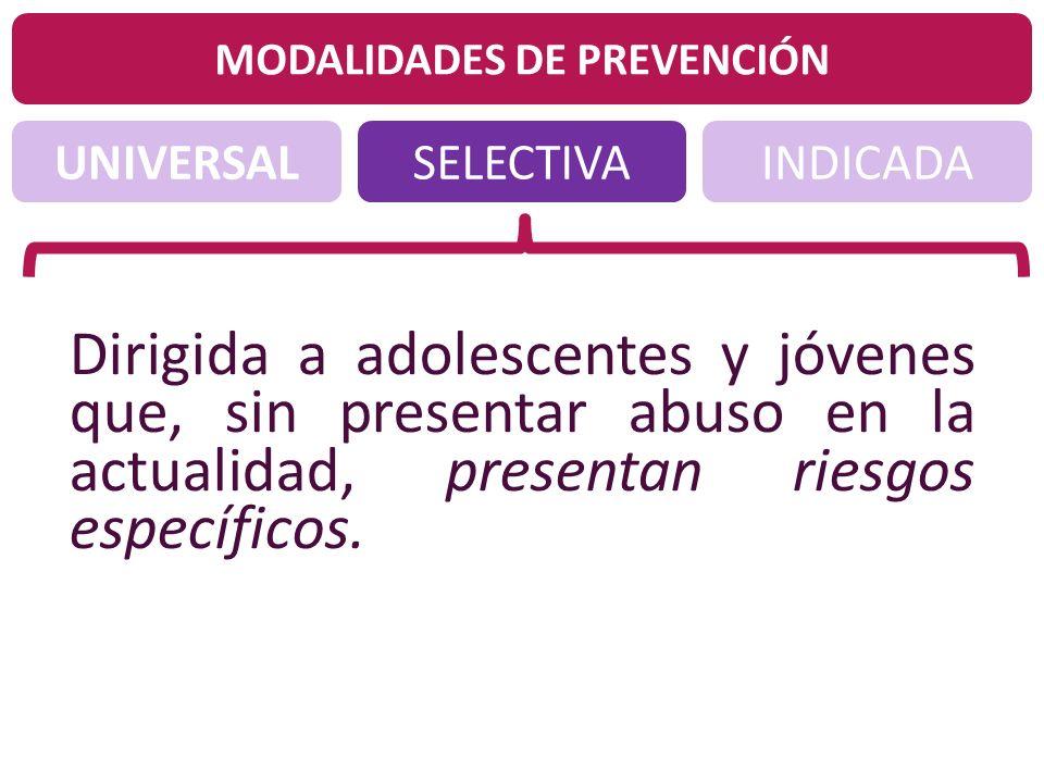 UNIVERSALINDICADASELECTIVA MODALIDADES DE PREVENCIÓN Dirigida a adolescentes y jóvenes que, sin presentar abuso en la actualidad, presentan riesgos es