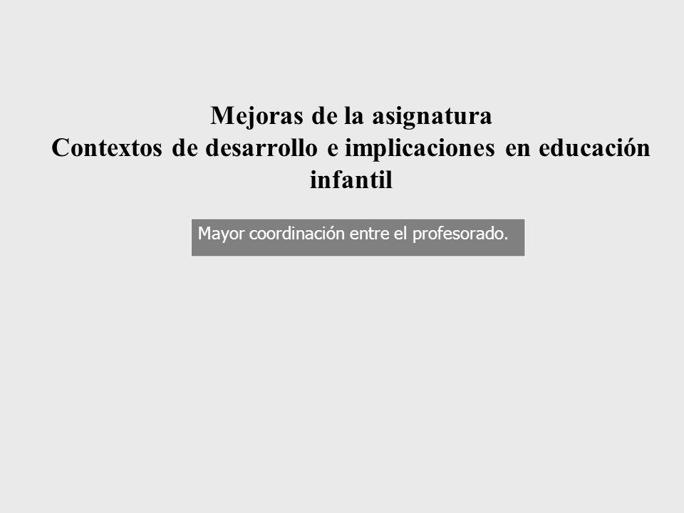 Mejoras de la asignatura Contextos de desarrollo e implicaciones en educación infantil Mayor coordinación entre el profesorado.