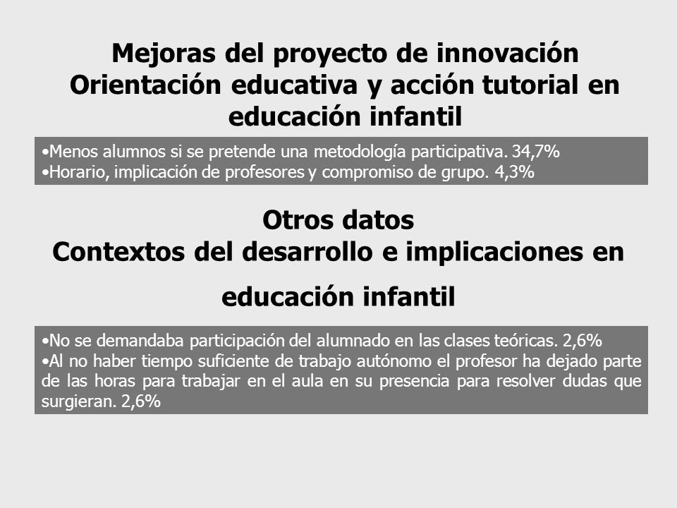 Mejoras del proyecto de innovación Orientación educativa y acción tutorial en educación infantil Menos alumnos si se pretende una metodología participativa.