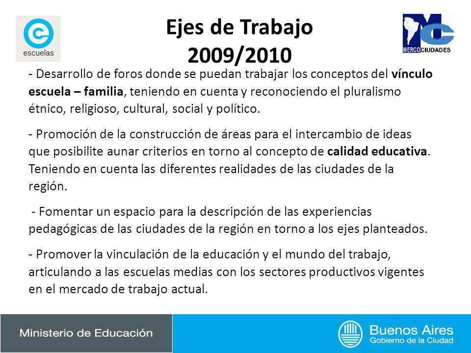 Ejes de Trabajo 2009/2010 - Desarrollo de foros donde se puedan trabajar los conceptos del vínculo escuela – familia, teniendo en cuenta y reconociend