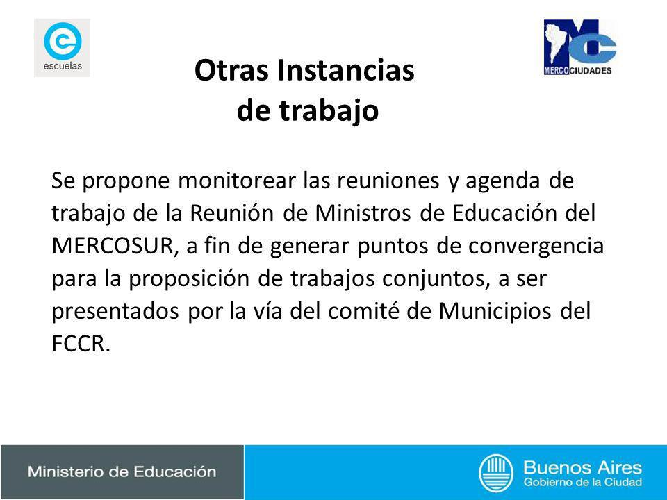 Otras Instancias de trabajo Se propone monitorear las reuniones y agenda de trabajo de la Reunión de Ministros de Educación del MERCOSUR, a fin de gen