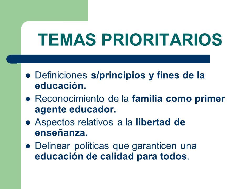 TEMAS PRIORITARIOS Definiciones s/principios y fines de la educación. Reconocimiento de la familia como primer agente educador. Aspectos relativos a l