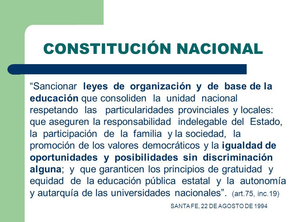 CONSTITUCIÓN NACIONAL Sancionar leyes de organización y de base de la educación que consoliden la unidad nacional respetando las particularidades prov
