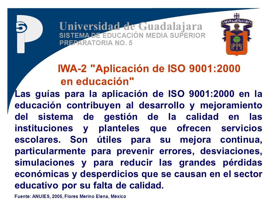 SISTEMA DE EDUCACIÓN MEDIA SUPERIOR PREPARATORIA NO. 5 Universidad de Guadalajara IWA-2
