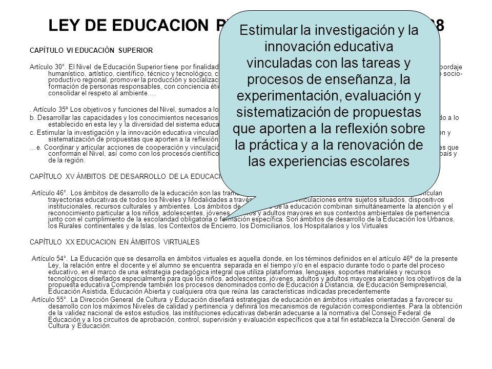 LEY DE EDUCACION PROVINCIAL – LEY Nº 13.688 CAPÍTULO VI EDUCACIÓN SUPERIOR Artículo 30°. El Nivel de Educación Superior tiene por finalidad proporcion