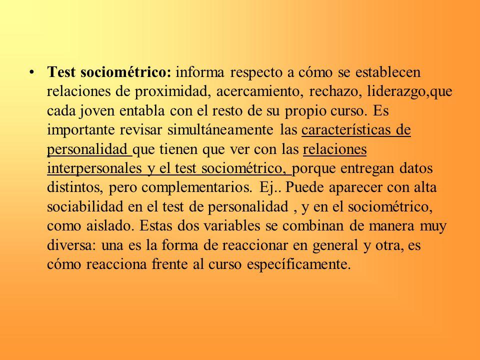Test sociométrico: informa respecto a cómo se establecen relaciones de proximidad, acercamiento, rechazo, liderazgo,que cada joven entabla con el rest