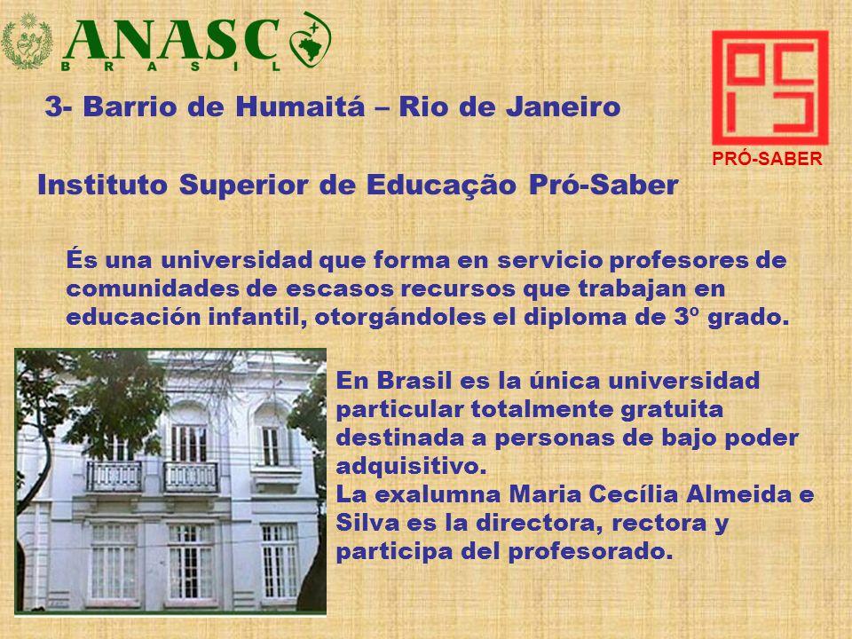 3- Barrio de Humaitá – Rio de Janeiro Instituto Superior de Educação Pró-Saber És una universidad que forma en servicio profesores de comunidades de e
