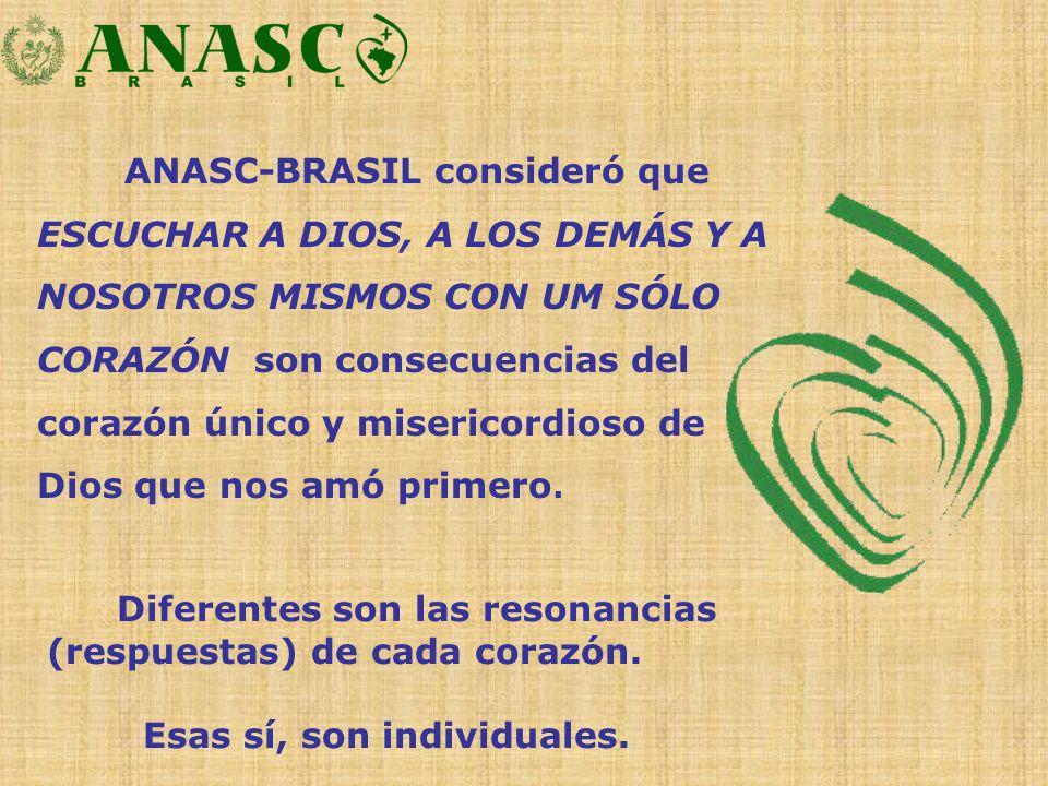 ANASC-BRASIL consideró que ESCUCHAR A DIOS, A LOS DEMÁS Y A NOSOTROS MISMOS CON UM SÓLO CORAZÓN son consecuencias del corazón único y misericordioso d