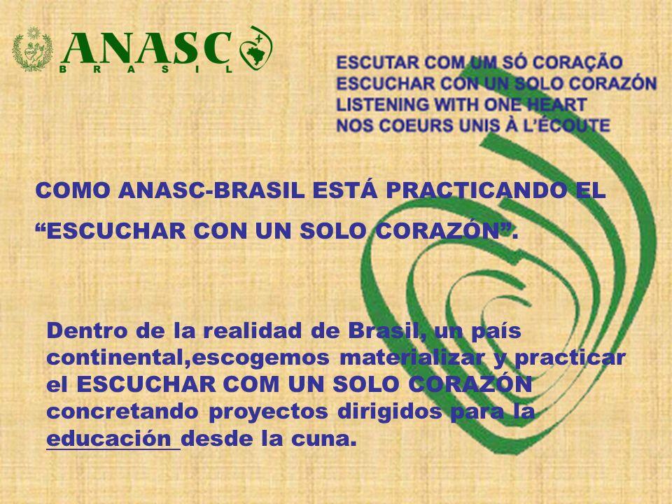 COMO ANASC-BRASIL ESTÁ PRACTICANDO EL ESCUCHAR CON UN SOLO CORAZÓN. Dentro de la realidad de Brasil, un país continental,escogemos materializar y prac