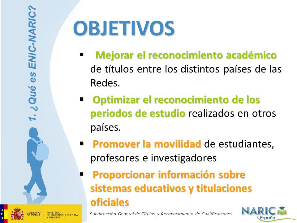 Subdirección General de Títulos y Reconocimiento de Cualificaciones OBJETIVOS Mejorar el reconocimiento académico Mejorar el reconocimiento académico