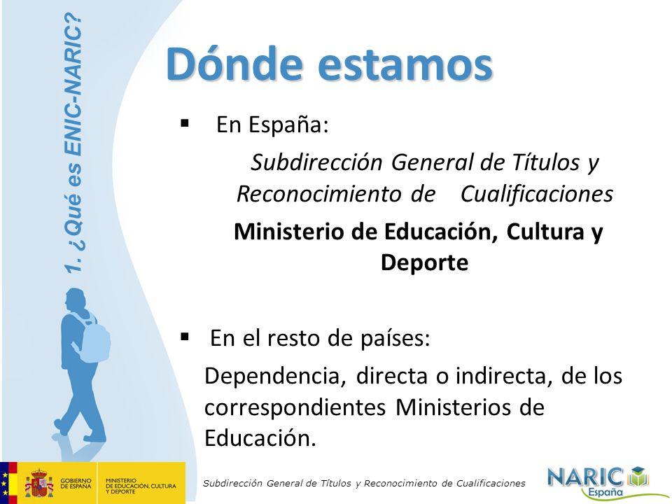 Subdirección General de Títulos y Reconocimiento de Cualificaciones Dónde estamos En España: Subdirección General de Títulos y Reconocimiento de Cuali