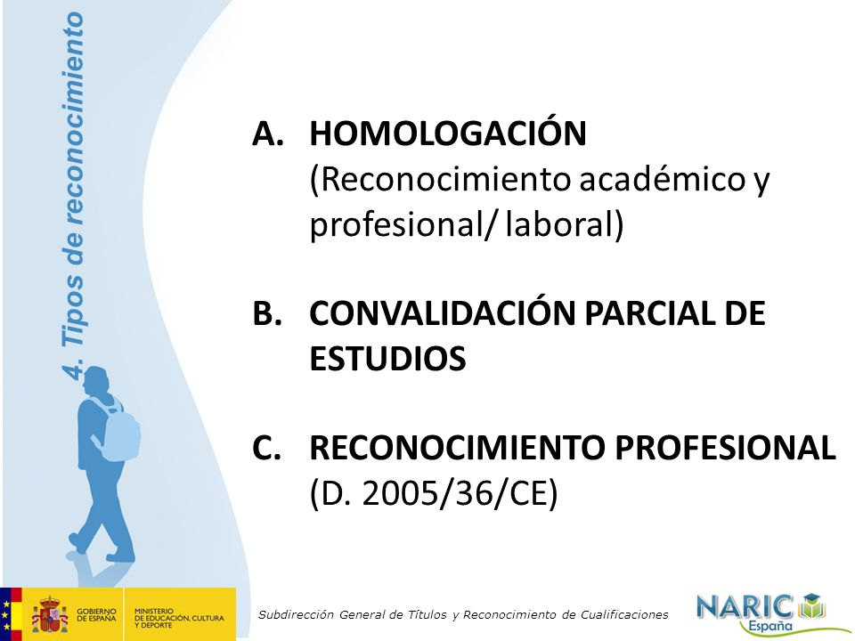 Subdirección General de Títulos y Reconocimiento de Cualificaciones A.HOMOLOGACIÓN (Reconocimiento académico y profesional/ laboral) B.CONVALIDACIÓN P