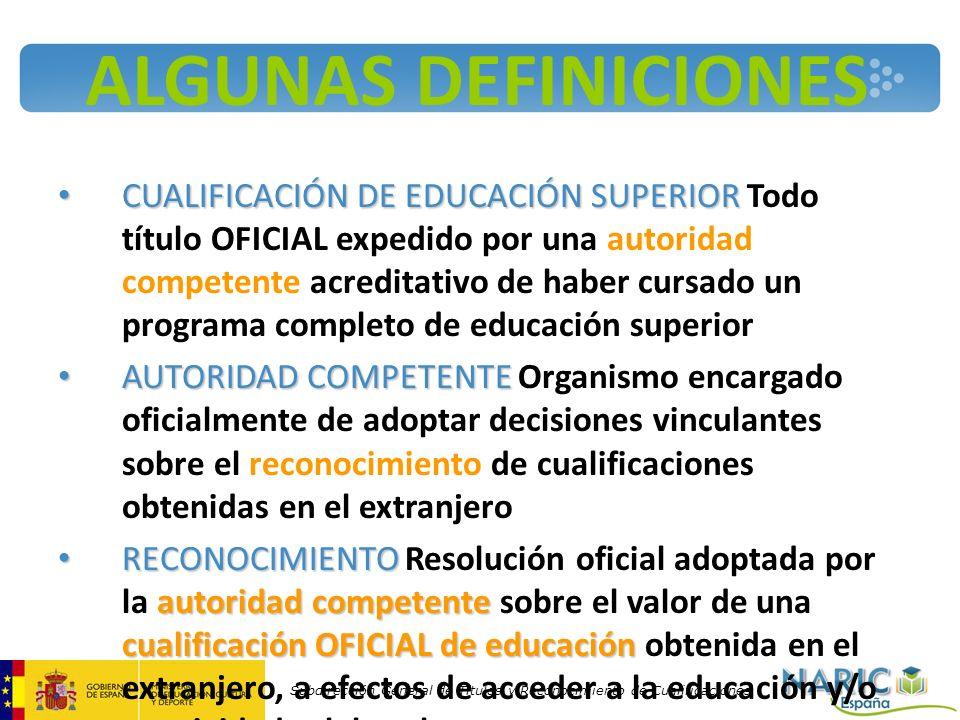 Subdirección General de Títulos y Reconocimiento de Cualificaciones ALGUNAS DEFINICIONES CUALIFICACIÓN DE EDUCACIÓN SUPERIOR CUALIFICACIÓN DE EDUCACIÓ